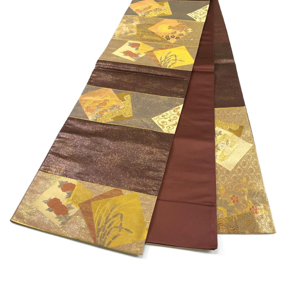 美品 着物 袋帯 正絹 六通 ブラウン ゴールド シルク 長さ440cm 幅31cm【中古】 レディース jh-6160