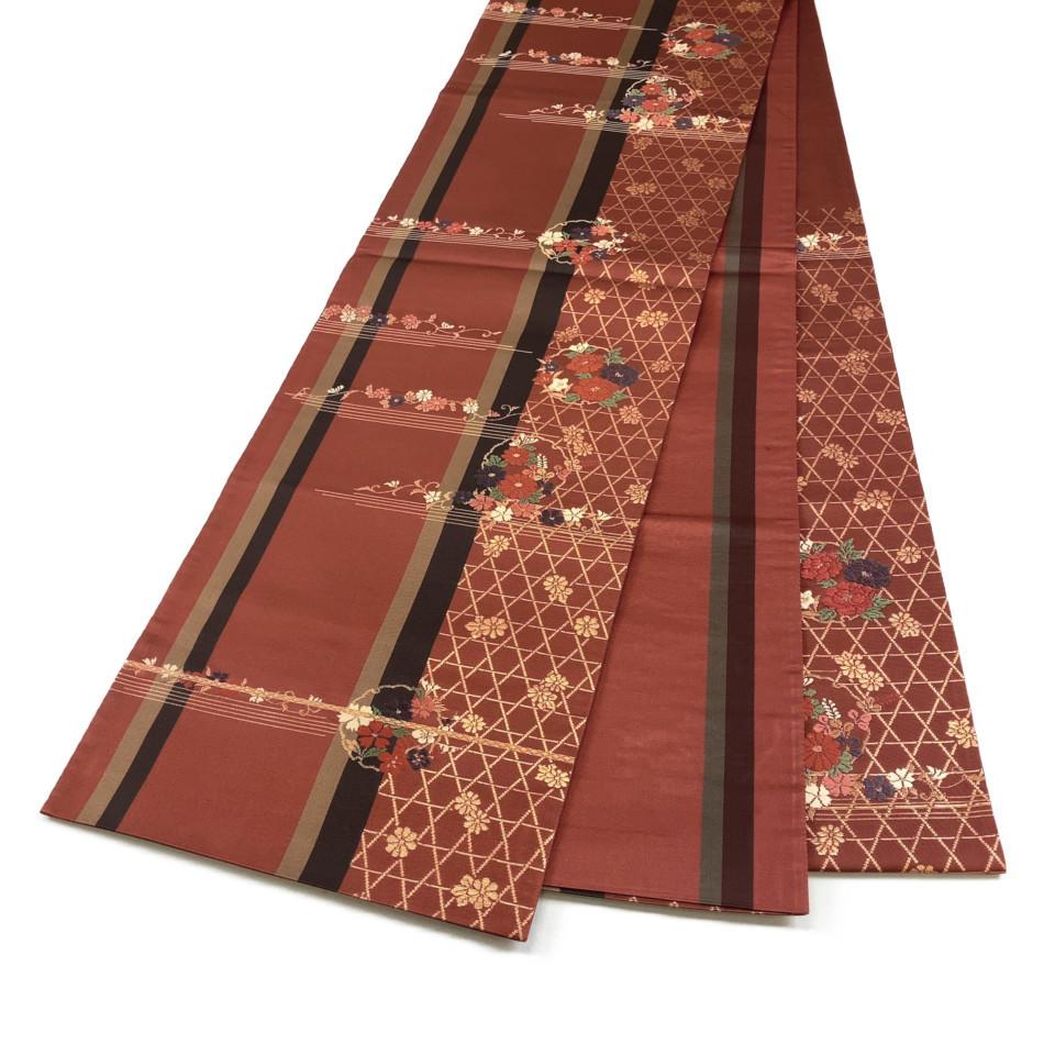 美品 着物 袋帯 正絹 六通 ブラウン ゴールド シルク 長さ424cm 幅31cm【中古】 レディース jh-6164