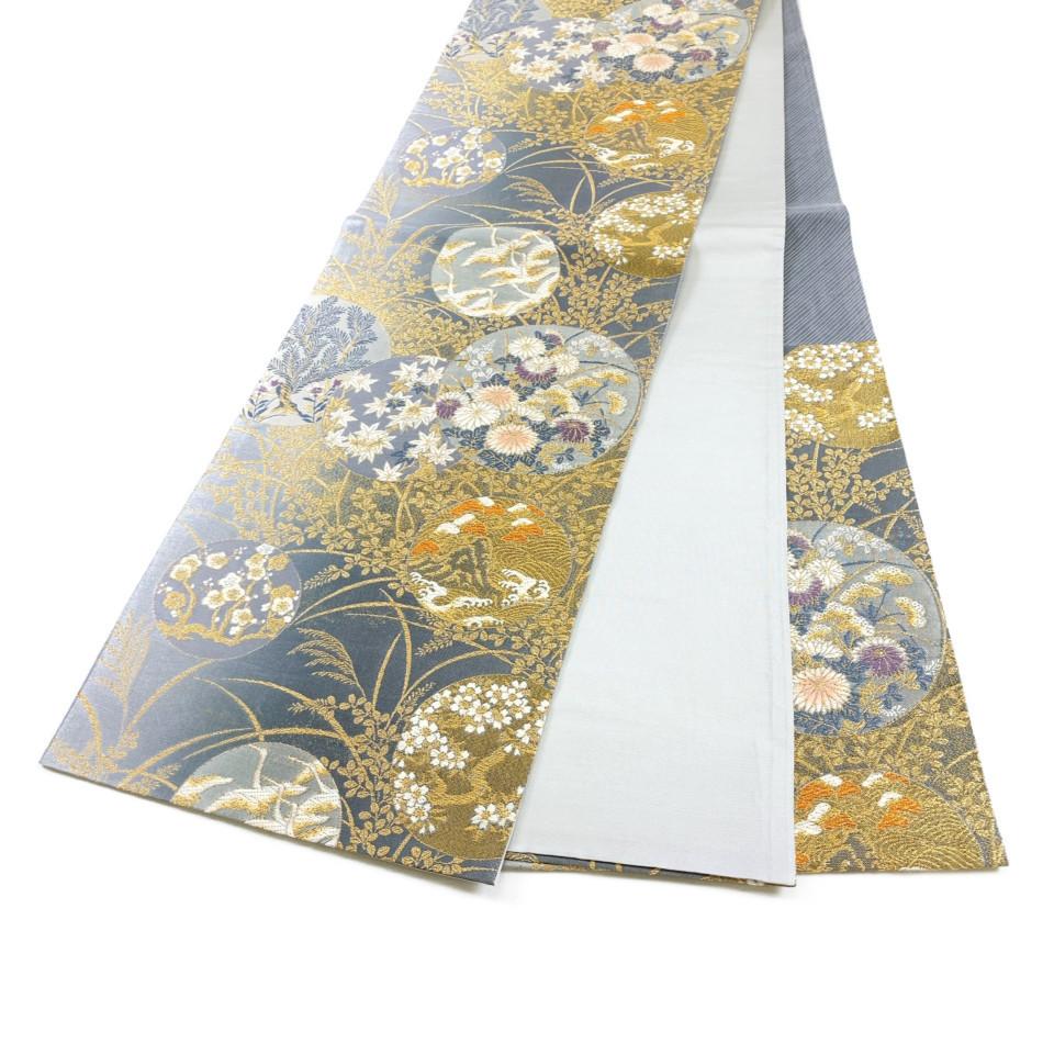着物 袋帯 正絹 六通 シルバー 錆鼠 素鼠 金 シルク 長さ438cm 幅31cm【中古】 レディース jh-6165