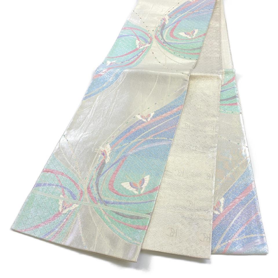 着物 袋帯 正絹 六通 蝶文様 シルバー 青竹色 青藤 シルク 長さ434cm 幅31cm【中古】 レディース jh-6172