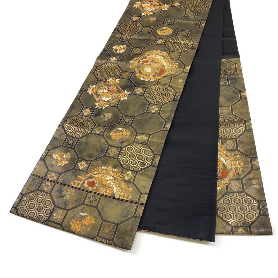 着物 袋帯 正絹 六通 亀甲文様 ブラック ゴールド シルク 長さ428cm 幅31cm【中古】 レディース jh-6174