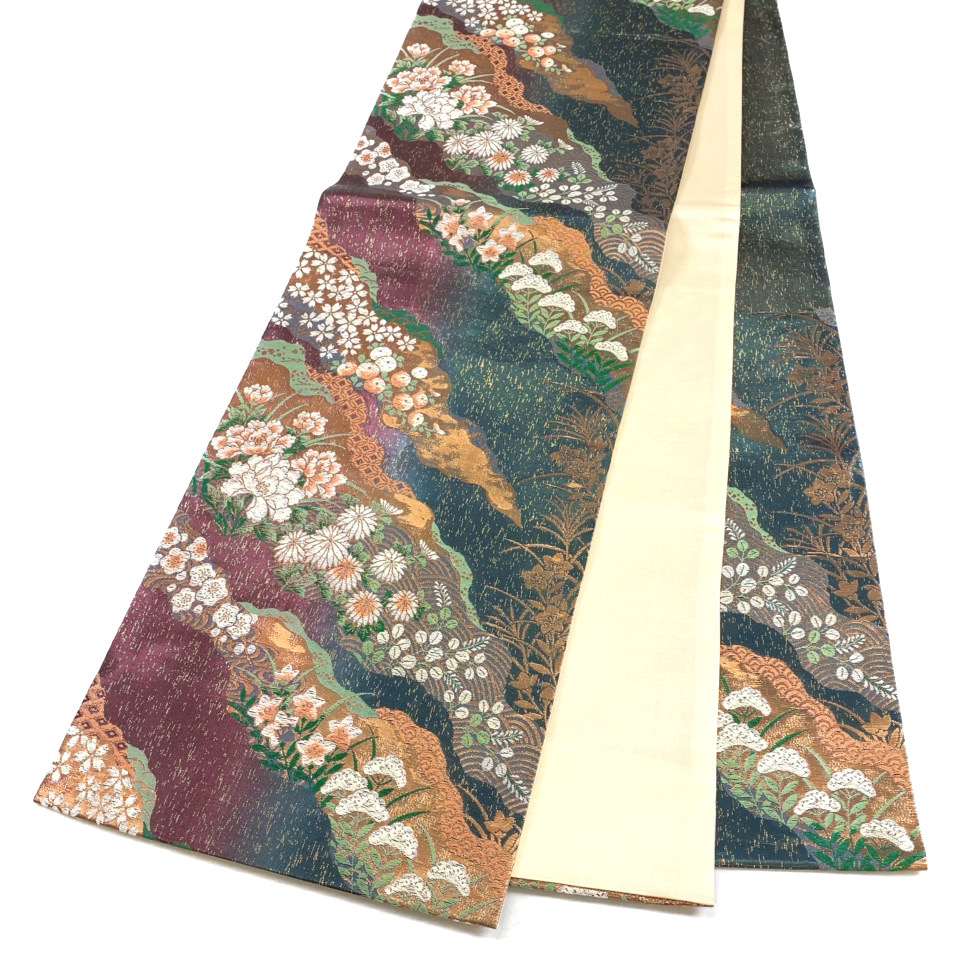 美品 着物 袋帯 正絹 六通 ゴールド 葡萄茶 高麗納戸 シルク 長さ444cm 幅31cm【中古】 レディース jh-6176