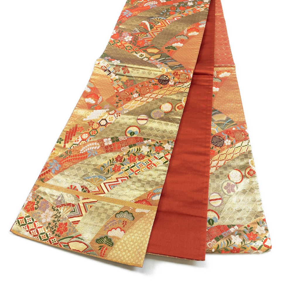 着物 袋帯 正絹 六通 朱色 ゴールド シルク 長さ442cm 幅31cm【中古】 レディース jh-6177