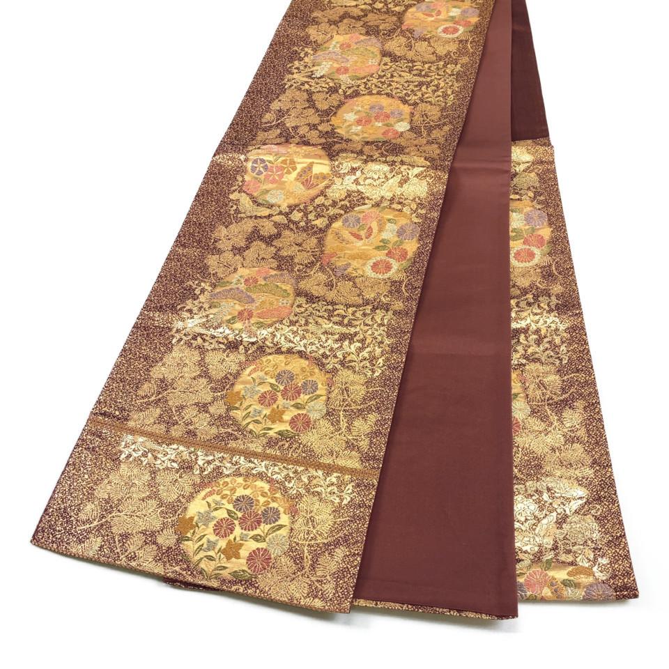 美品 着物 袋帯 正絹 六通 ブラウン ゴールド シルク 長さ438cm 幅31cm【中古】 レディース jh-6178