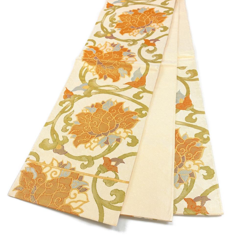 着物 袋帯 正絹 六通 宝相華 ゴールド 生成 オレンジ 黄緑 シルク 長さ440cm 幅31cm【中古】 レディース jh-6180