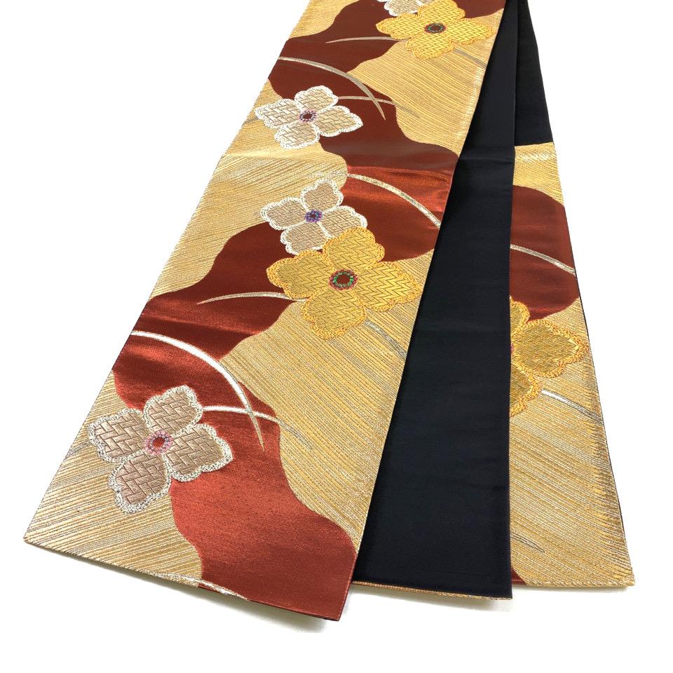 美品 着物 袋帯 正絹 六通 レッド 赤銅色 金 シルク 長さ430cm 幅31cm【中古】 レディース jh-6181