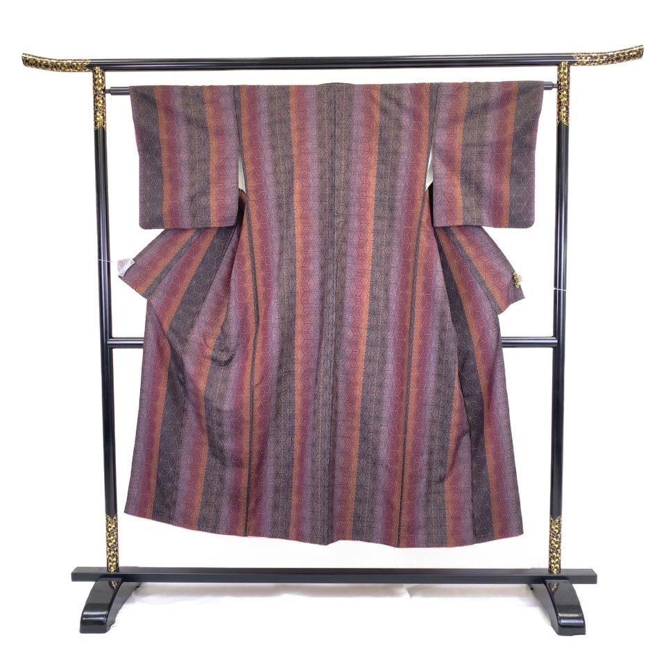着物 紬 正絹 袷 パープル 紫 シルク 紬 適応身長143.5 cm【中古】 レディース jh-6248