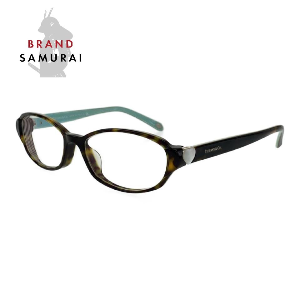 TIFFANY&Co. ティファニー ハートモチーフ ブラック ライトグリーン プラスチック メガネ 眼鏡【中古】 度あり レディース 101857
