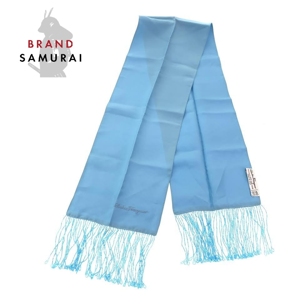 Salvatore Ferragamo サルヴァトーレフェラガモ ブルー ライトブルー シルク スカーフ ストール【中古】 レディース 101904