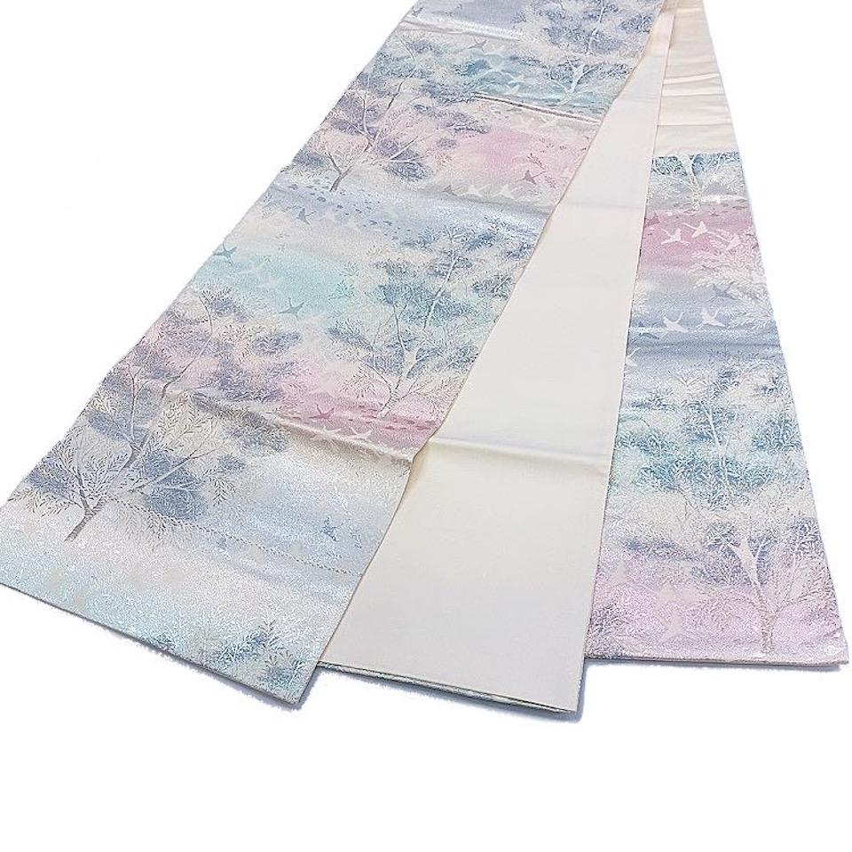 着物 袋帯 正絹 六通 シルバー 白 薄ピンク 水色 シルク 袋帯 長さ420cm 幅31cm【中古】 レディース jh-6195