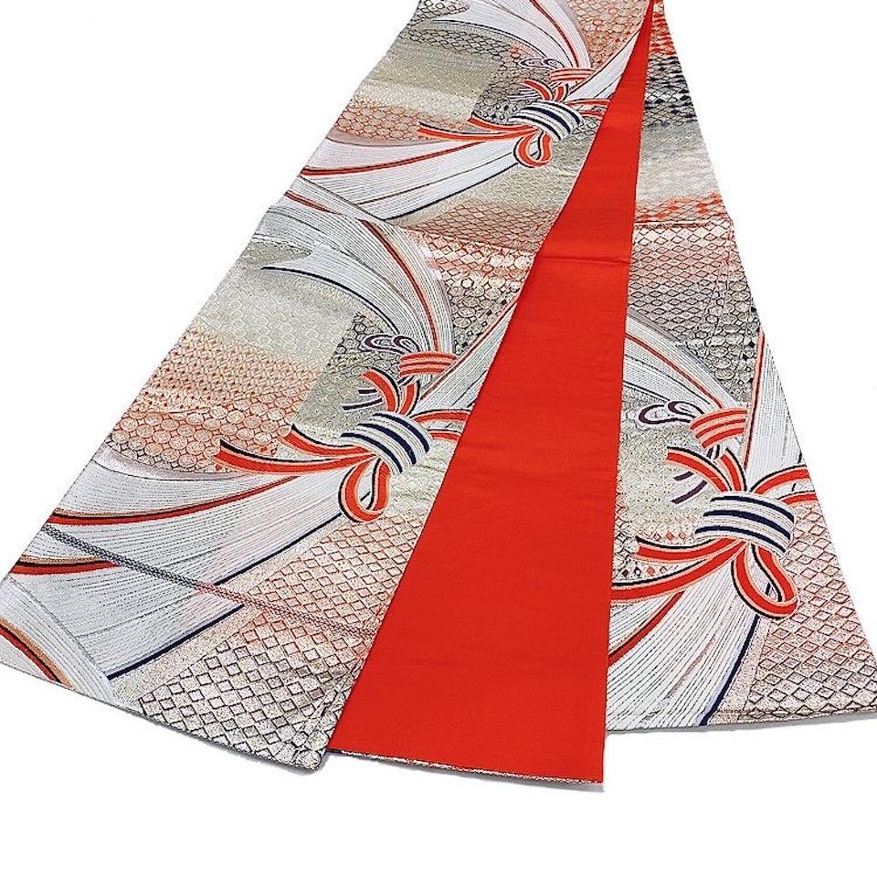 美品 着物 袋帯 正絹 六通 レッド シルバー 朱色 白 シルク 長さ434cm 幅31cm【中古】 レディース jh-6196
