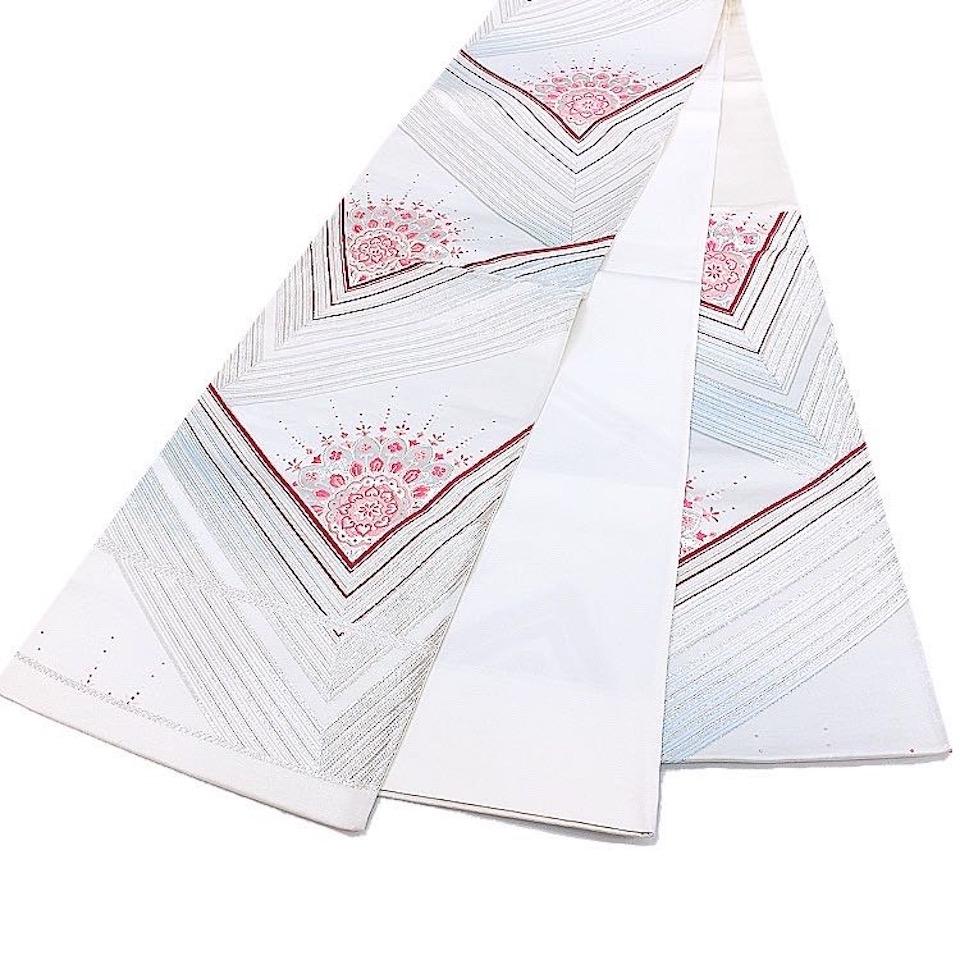 着物 袋帯 正絹 六通 シルバー 白 赤 ピンク 水色 シルク 長さ432cm 幅31cm【中古】 レディース jh-6198