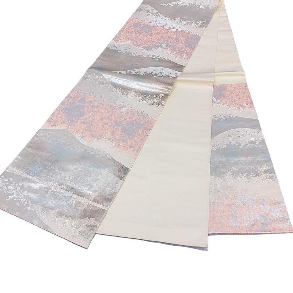 着物 袋帯 正絹 六通 生成 シルバー ピンク シルク 長さ426cm 幅31cm【中古】 レディース jh-6199