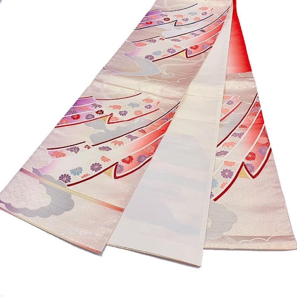着物 袋帯 正絹 六通 レッド 生成 ピンク 紫 シルク 長さ428cm 幅31cm【中古】 レディース jh-6200