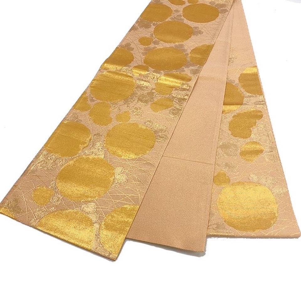 美品 着物 袋帯 正絹 六通 洒落柿 ゴールド シルク 袋帯 長さ444cm 幅31cm【中古】 レディース jh-6201