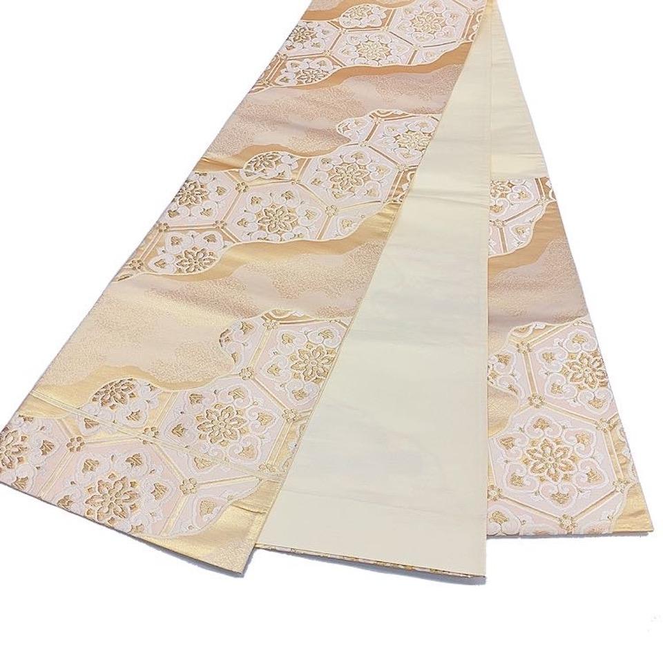 着物 袋帯 正絹 六通 シルバー 香色 ゴールド シルク 袋帯 長さ430cm 幅31cm【中古】 レディース jh-6203