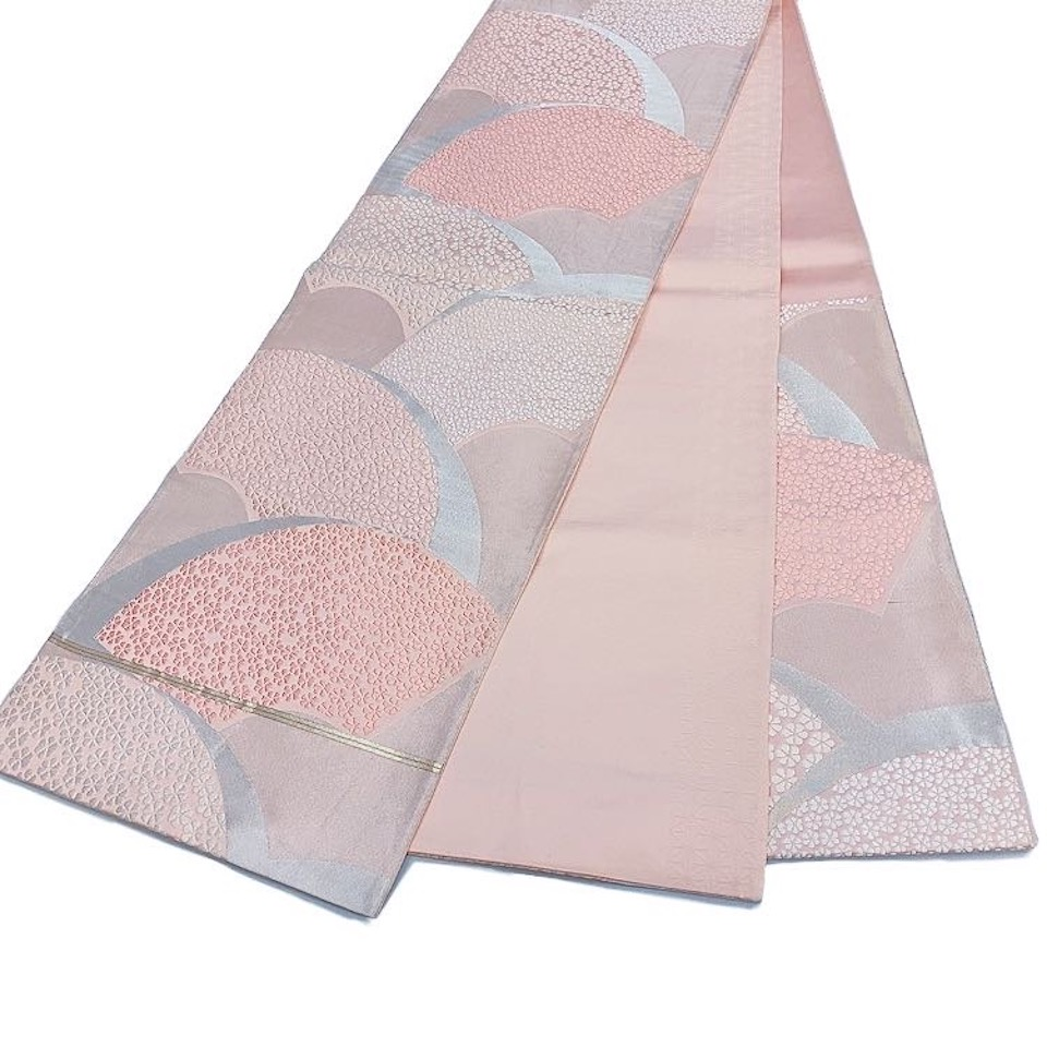 着物 袋帯 正絹 六通 ピンク 薄ピンク シルバー シルク 袋帯 長さ418cm 幅31cm【中古】 レディース jh-6204