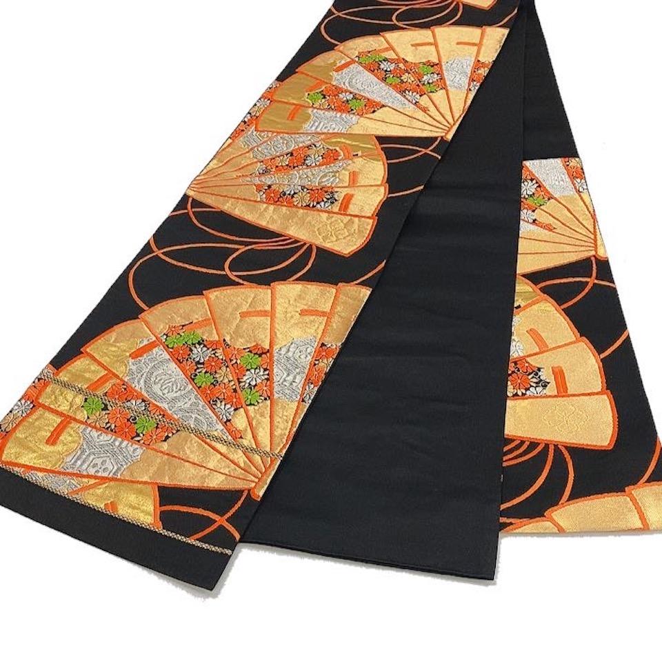 着物 袋帯 正絹 六通 黒 金 オレンジ シルク 袋帯 長さ418cm 幅31cm【中古】 レディース jh-6205