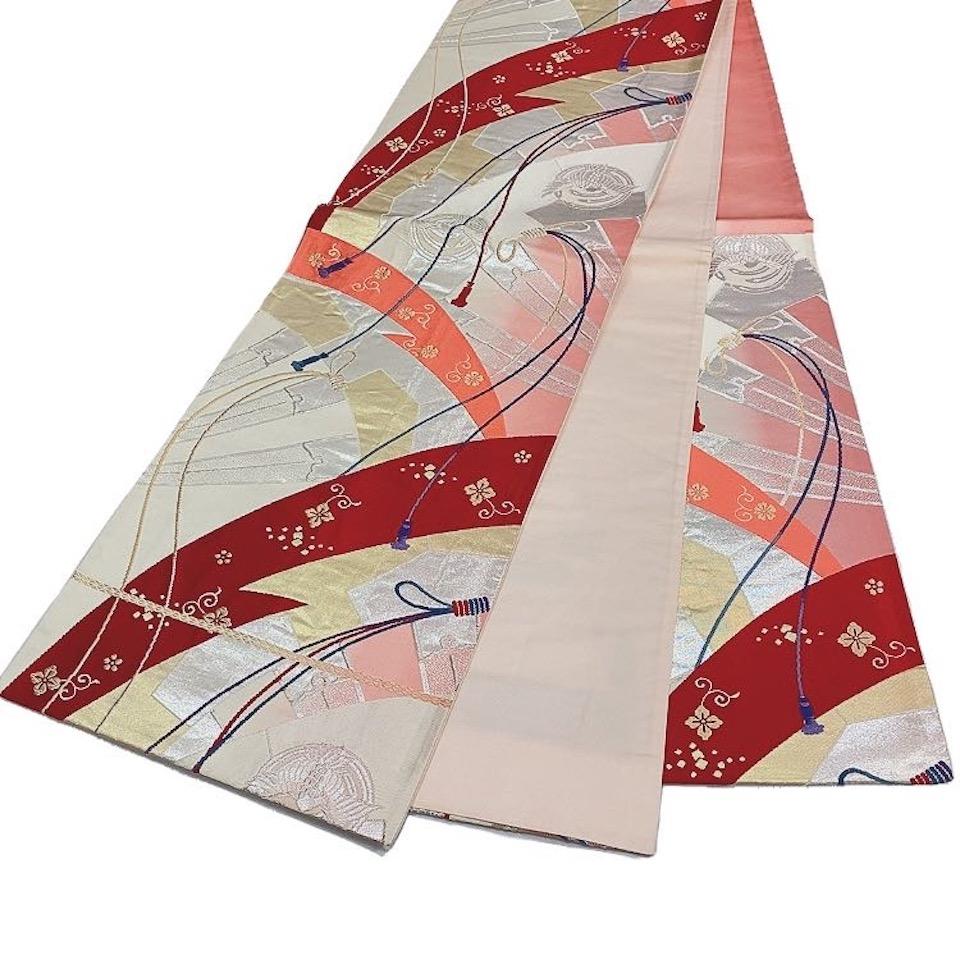 着物 袋帯 正絹 六通 レッド 生成 ピンク 赤 シルク 袋帯 長さ418cm 幅31cm【中古】 レディース jh-6206
