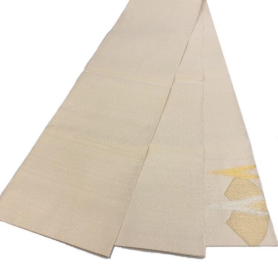 美品 着物 袋帯 正絹 お太鼓柄 生成 ゴールド シルク 袋帯長さ448cm 幅31cm【中古】 レディース jh-6207