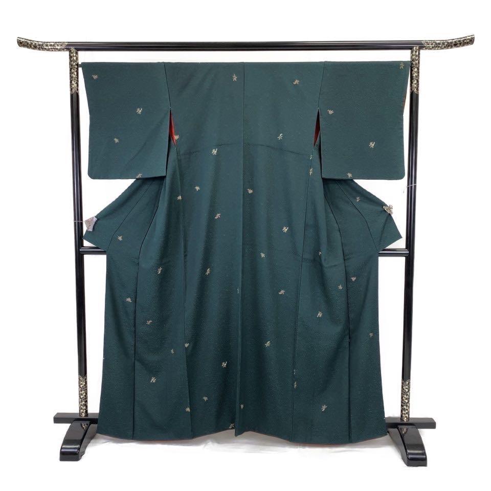 着物 小紋 正絹 袷 グリーン 高麗納戸色 シルク 適応身長 153.5-163.5cm【中古】 レディース jh-6221