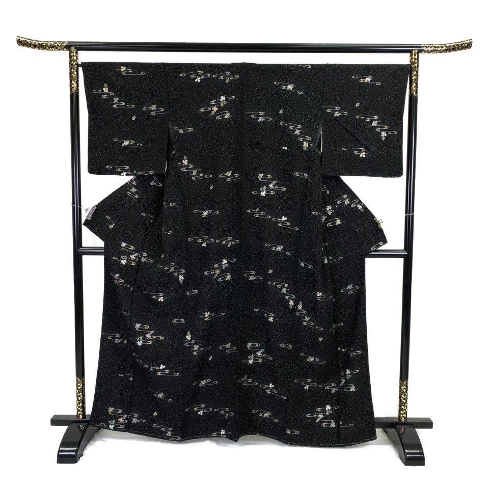 美品 着物 小紋 正絹 袷 黒 シルク 小紋 適応身長152-162 cm【中古】 レディース jh-6233