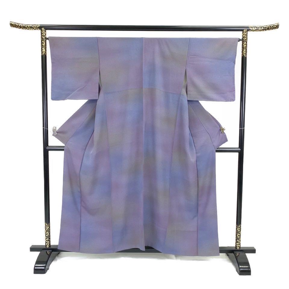 着物 小紋 正絹 袷 パープル 紫 シルク 小紋 適応身長 146-156cm【中古】 レディース jh-6235