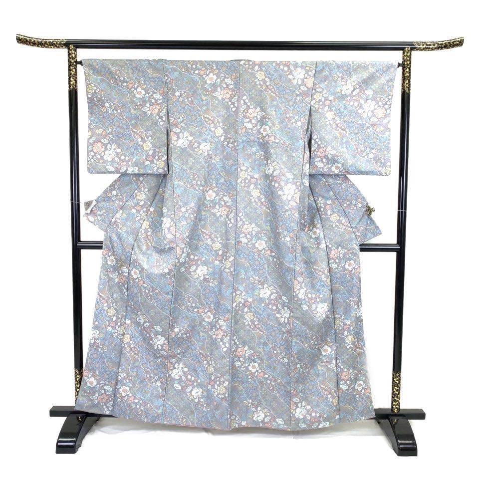 着物 小紋 化繊 袷 ブルー 紫 ポリエステル 小紋 適応身長153-163 cm【中古】 レディース jh-6236