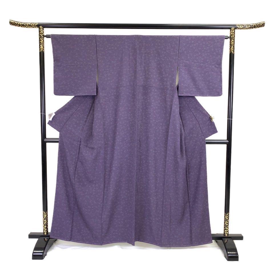 着物 小紋 正絹 袷 パープル 紫 シルク 小紋 適応身長 151-161cm【中古】 レディース jh-6238