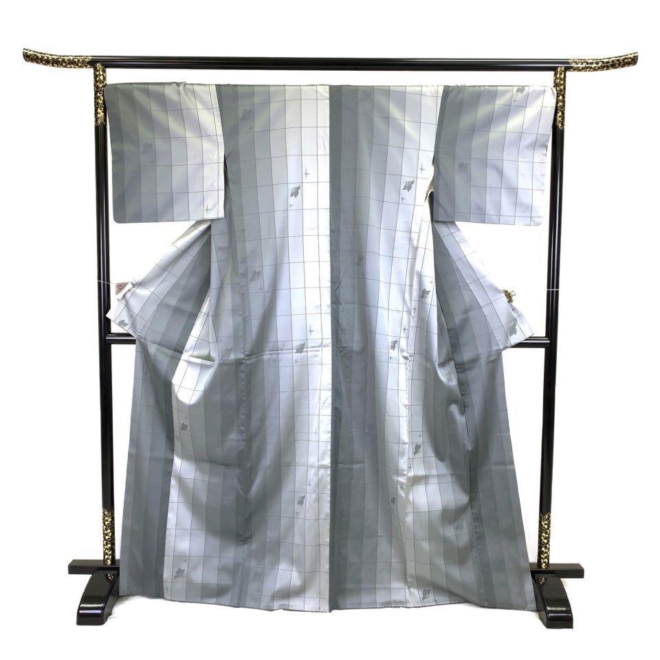 着物 小紋 正絹 袷 グレー シルク 小紋 適応身長 156-166cm【中古】 レディース jh-6239