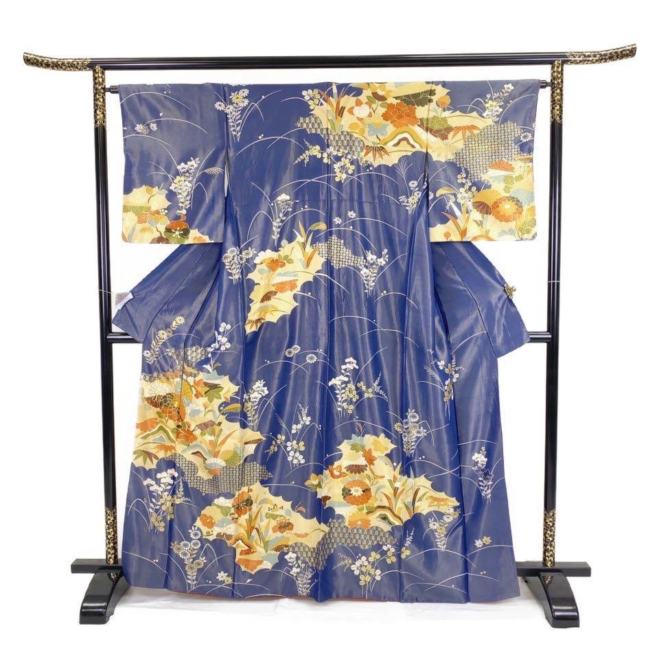 着物 小紋 正絹 袷 ブルー 瑠璃色 シルク 小紋 適応身長 154.5~164.5cm【中古】 レディース jh-6240