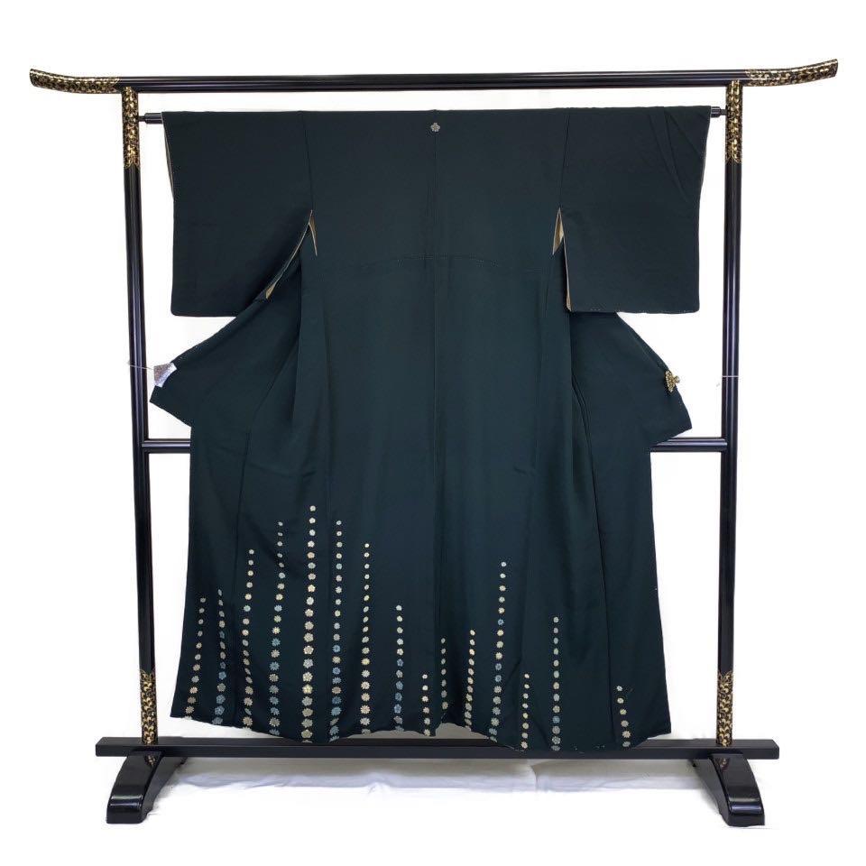着物 訪問着 正絹 袷 ブラック 百入茶 シルク 小紋 適応身長 145-155cm【中古】 レディース jh-6244
