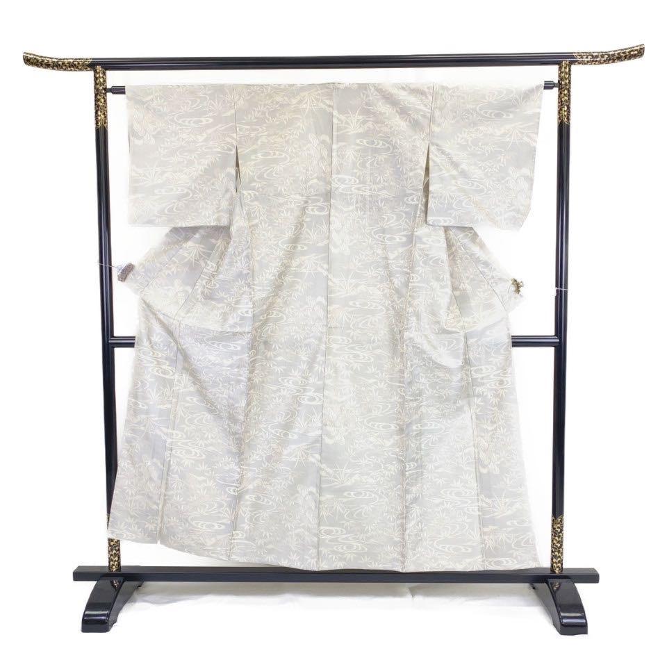 美品 着物 紬 正絹 袷 ホワイト 紫 シルク 紬 適応身長143-153 cm【中古】 レディース jh-6249