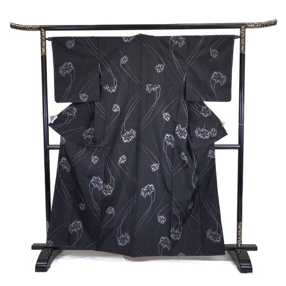 着物 紬 正絹 袷 ブラック 黒 シルク 紬 適応身長149-159 cm【中古】 レディース jh-6250