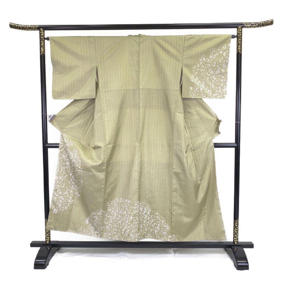 美品 着物 紬 正絹 袷 グリーン 白橡 薄柳茶 シルク 紬 適応身長140.5-150.5 cm【中古】 レディース jh-6252