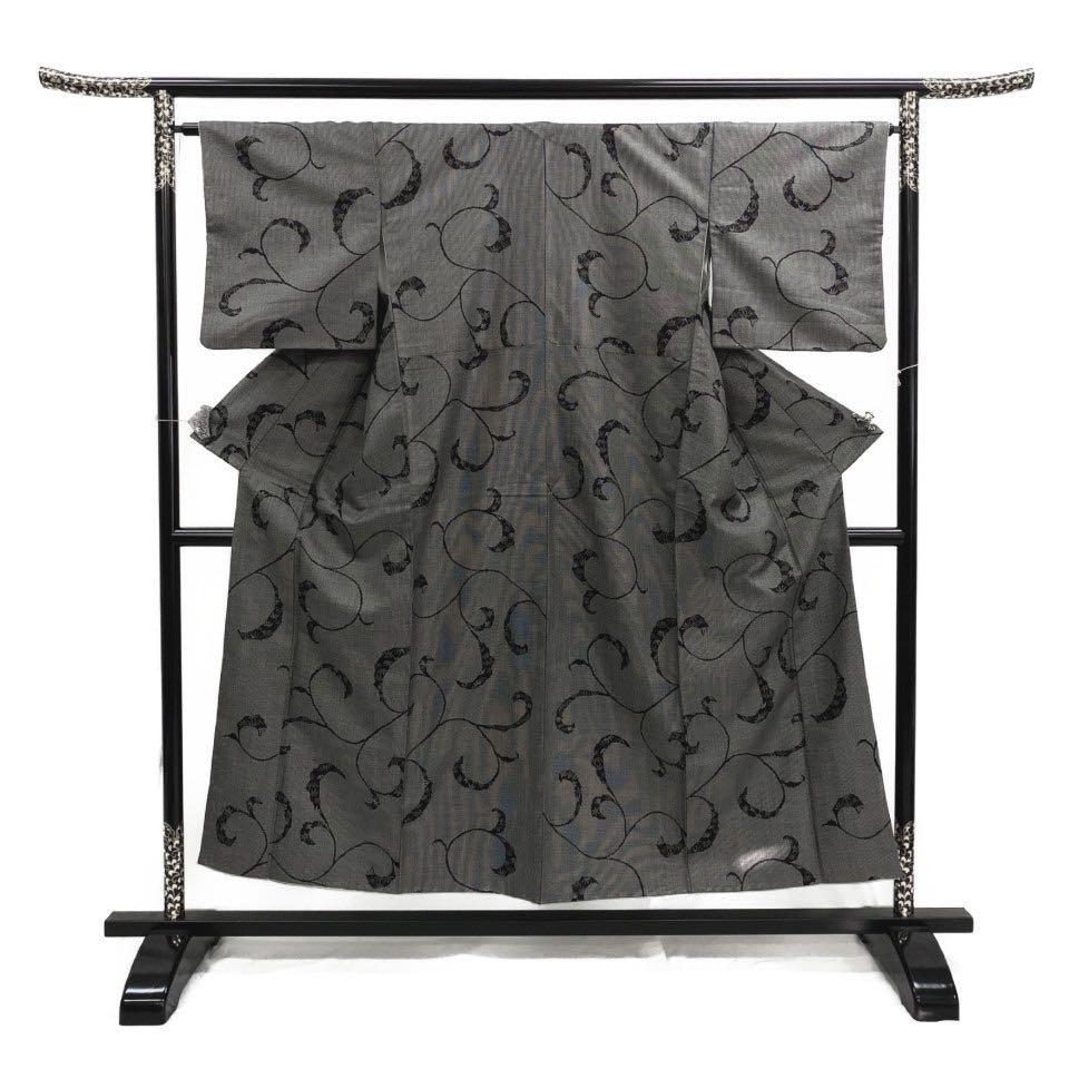 着物 紬 正絹 袷 黒 ブラック シルク 紬 適応身長 141-151cm【中古】 レディース jh-6254