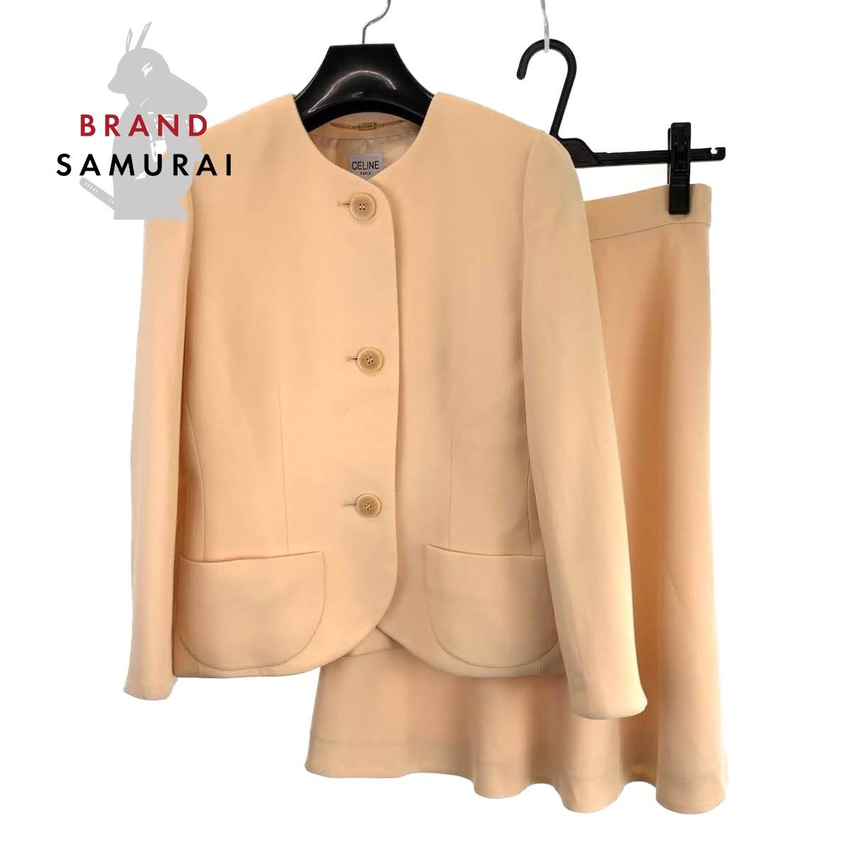 BRAND SAMURAI CELINE セリーヌ ヴィンテージ サイズ38 爆買いセール 100%ウール 本物◆ イエローベージュ ノーカラージャケット セットアップ 中古 102652 ウール スカートスーツ レディース
