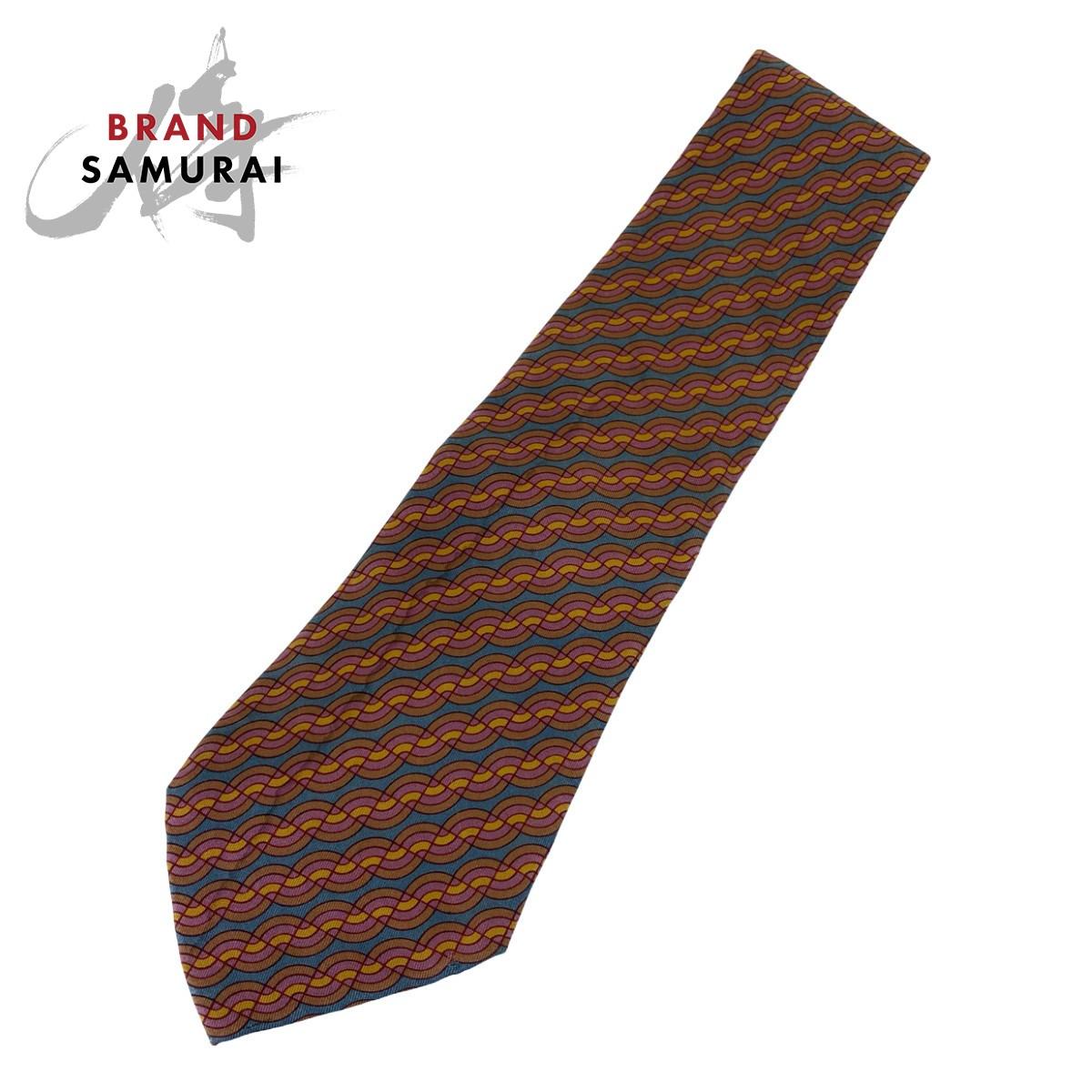 BRAND SAMURAI HERMES エルメス 波模様 驚きの価格が実現 卓出 総柄 マルチカラー 剣先10.0cm シルク 中古 ネクタイ 102819 メンズ