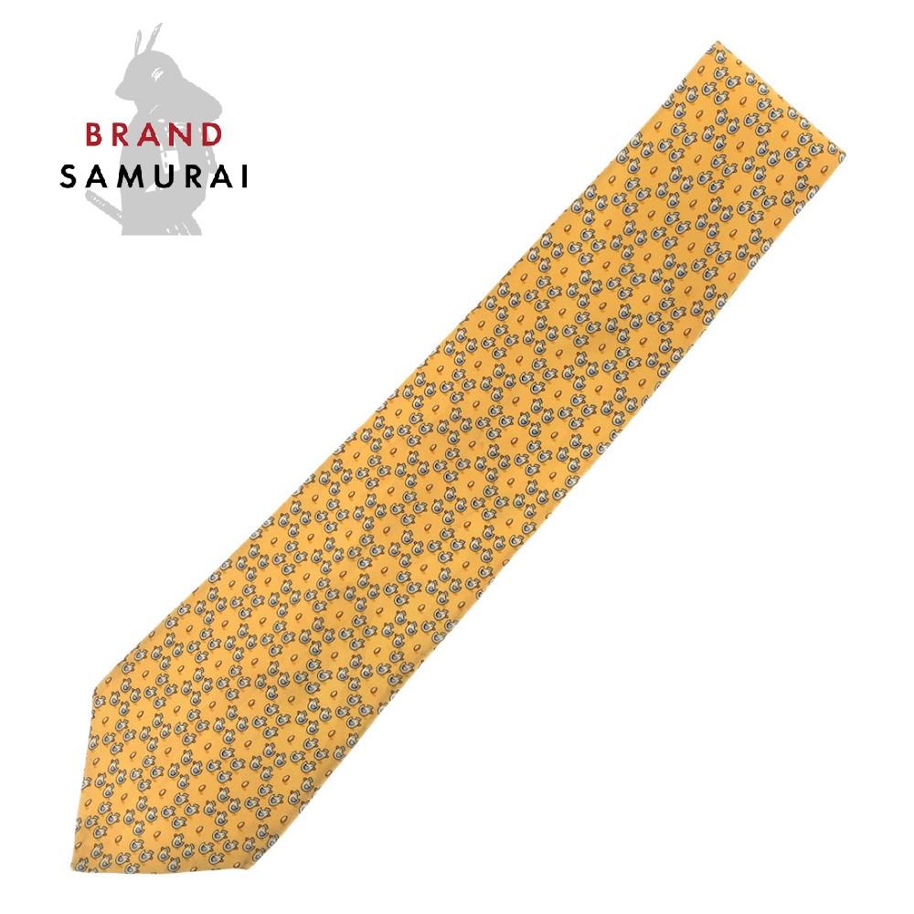 BRAND SAMURAI Salvatore Ferragamo サルヴァトーレフェラガモ ニワトリと卵 総柄 買取 103264 中古 至上 イエロー 剣先9.5cm ネクタイ メンズ シルク