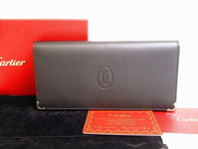 【展示保管品】Cartier カルティエ カボション カーフレザー インターナショナル ワレット 2つ折り 長財布 メンズ レディース 黒 【中古】