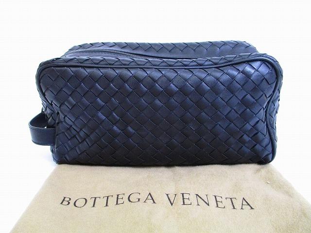 【新品同様】BOTTEGA VENETA ボッテガヴェネタ イントレチャート カーフレザー セカンドバッグ メンズ 黒 【中古】