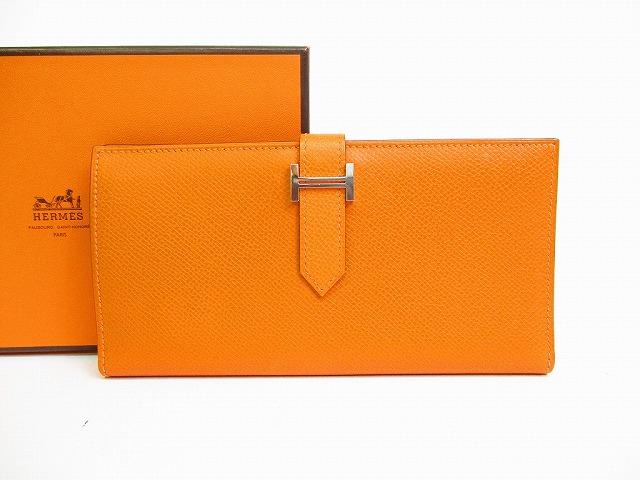 【新品同様】HERMES エルメス ヴォーエプソン ベアン シルバー金具 二つ折り長財布 オレンジ 【中古】
