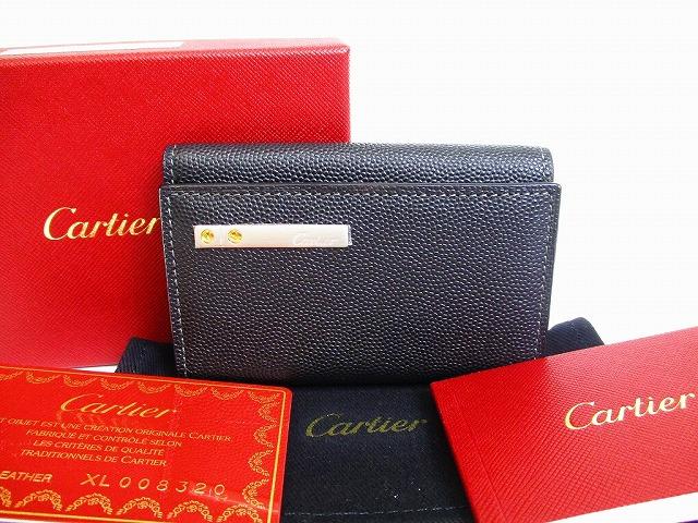 【展示保管品】Cartier カルティエ サントス カーフスキン 6連 キーケース キーリング メンズ レディース 黒 【中古】