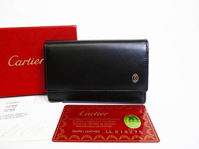 【展示未使用】Cartier カルティエ パシャ ドゥ カルティエ カーフスキン 6連キーケース キーリング メンズ レディース 黒 【中古】