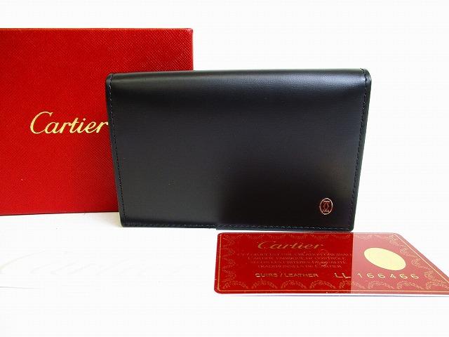 【新古品】 Cartier カルティエ パシャ ドゥ カルティエ カードケース 名刺入れ パスケース メンズ レディース 黒 【中古】