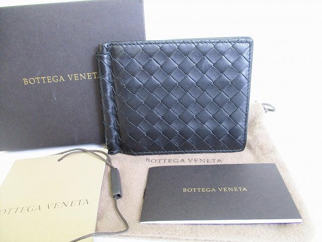 新作多数 超美品 ボッテガヴェネタ BOTTEGA VENETA イントレチャート マネークリップ付き 二つ折り 札入れ ネロ ウォレット メーカー在庫限り品 中古 財布 メンズ