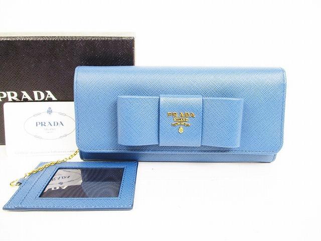 【新古品】プラダ PRADA サフィアーノ レザー リボン 2つ折り 長財布 コバルト 【中古】