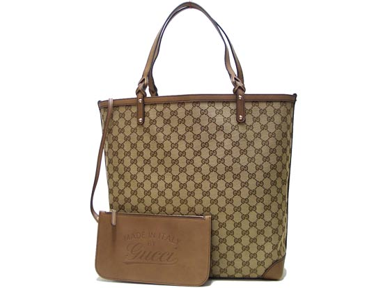 7b97619e8 Gucci GUCCI tote bag (pouch) 247220 F4CMG8453 GG canvas / leather beige /  cigar ...