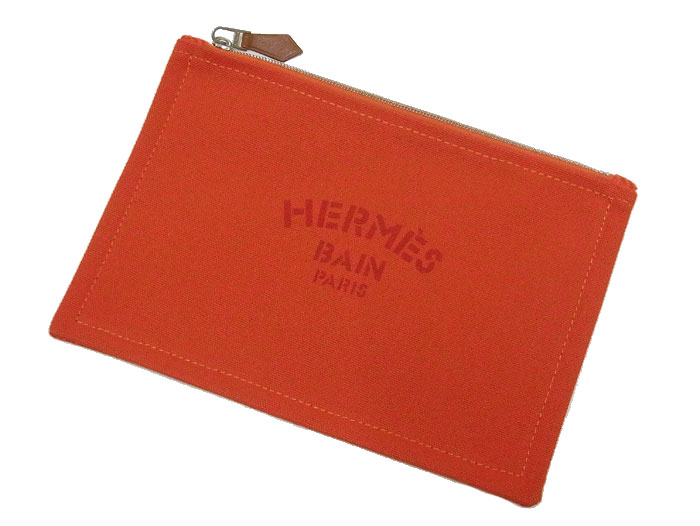 【送料・代引き手数料無料】【新品同様 S品】 HERMES エルメス ヨッティングPM オレンジ 化粧ポーチ 小物入れ