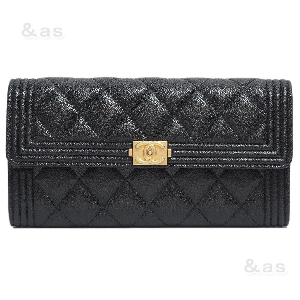 【新品】 シャネル 財布 ボーイシャネル フラップ ロングウォレット 黒/マットGO A80286 CHANEL